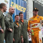 Ryan Hunter-Reay and A-10 pilots at the 2012 Grand Prix of Baltimore Victory Lane Stage