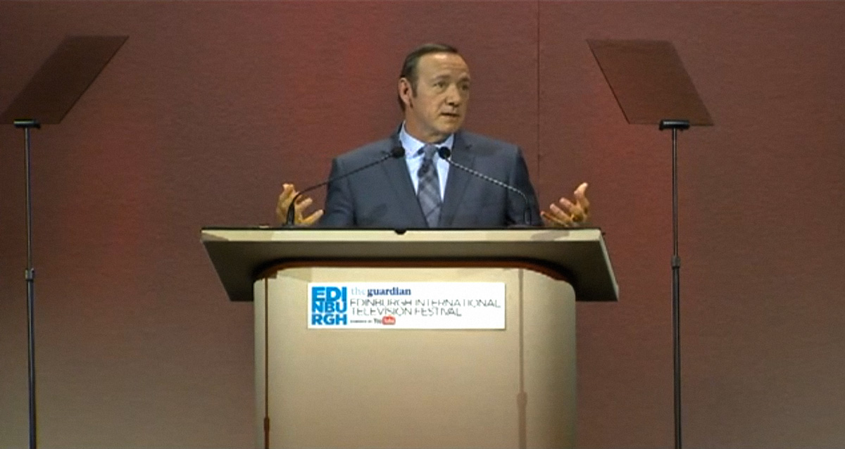 Kevin Spacey Gives the 2013 keynote James MacTaggart Memorial Lecture and Kills Traditional Television