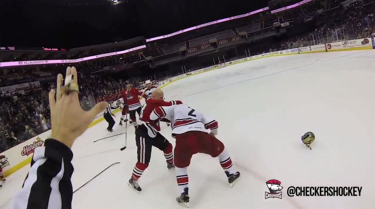 Hockey Referee David Banfield Films a Charlotte Checkers Game with a GoPro Helmet Cam
