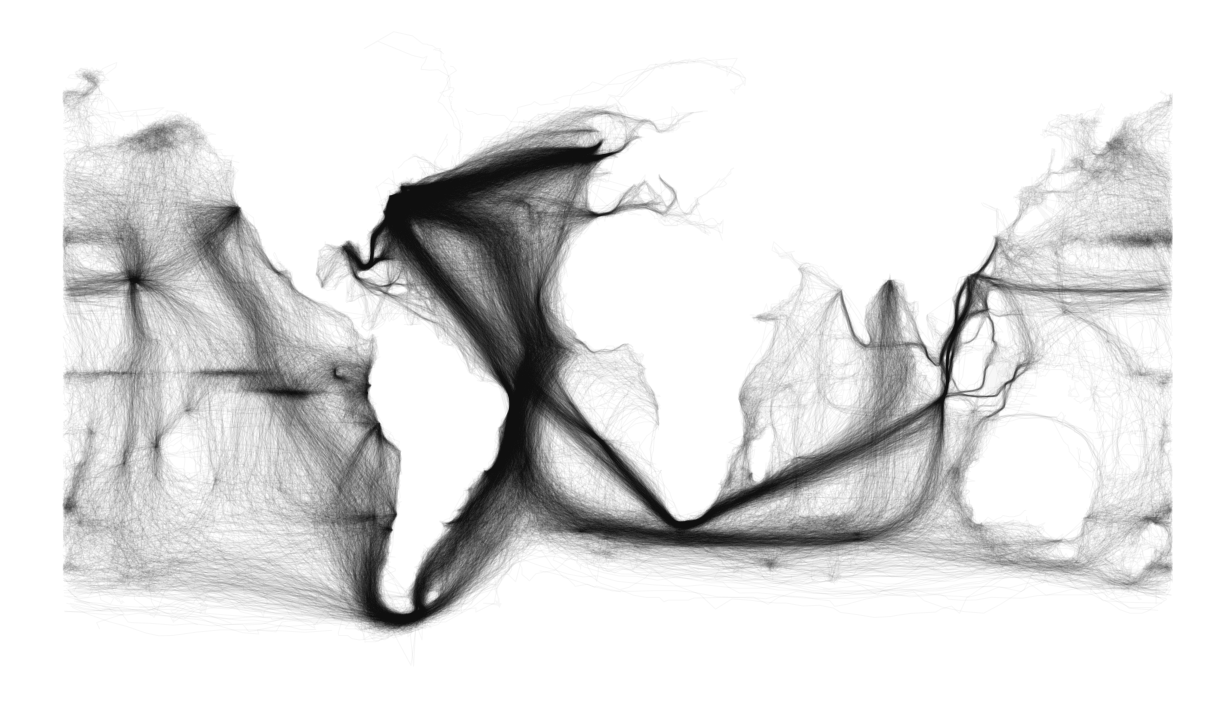 Ben Schmidt Uses ICOADS Maury Data Set of Ships' Logs to Visualize 19th Century Shipping Routes