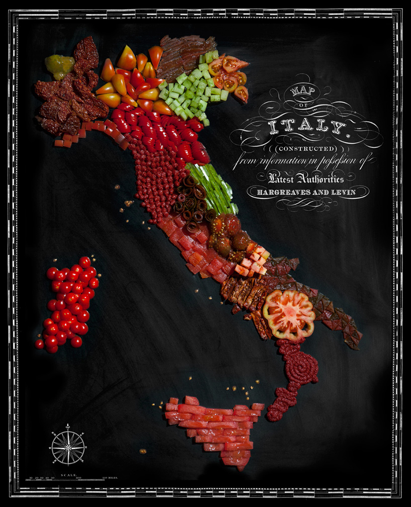 Henry Hargreaves and Caitlin Levin Create Food Maps: Italy Made Out of Tomatoes