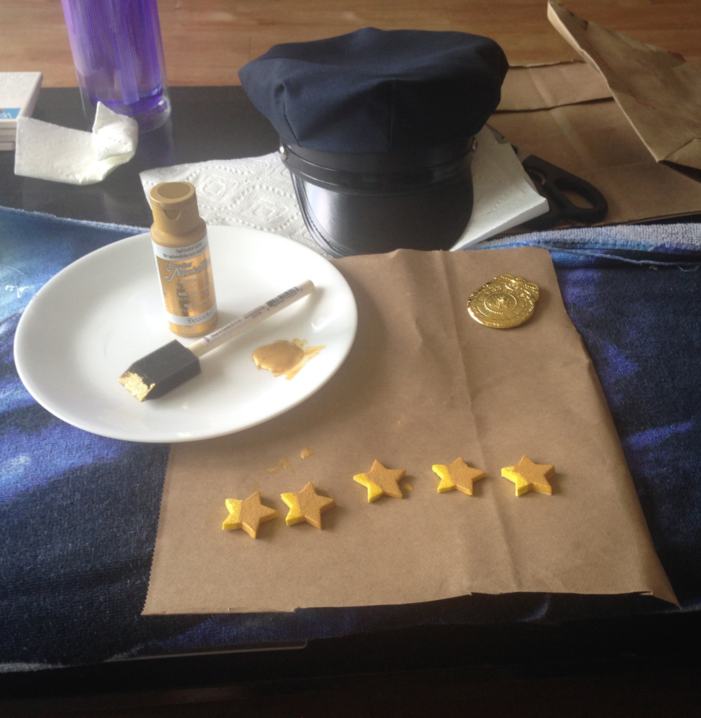 How to Make Axe Cop's Police Hat: Painting Gold Stars