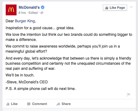 McDonald's Responds to McWhopper Truce