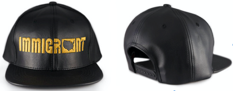 Immigrant Apparel Black & Gold Leather Snapback